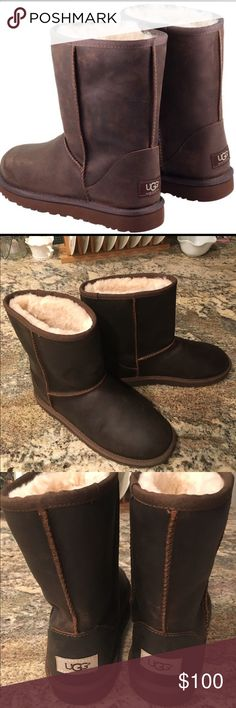 UGG Short Boots Dark Brown NWOT Water resistant leather upper (not suede) • UGGpure wool lining • UGG label has BEIGE background • very cool looking boots • as always smoke free, pet free home. UGG Shoes Ankle Boots & Booties