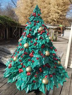TS Originals, Quality Ceramics by TSoriginals Tinsel Christmas Tree, Mexican Christmas, Christmas Tree Painting, Xmas Tree, Christmas Crafts, Christmas Decorations, Christmas Ideas, Vintage Ceramic Christmas Tree, Holly Tree