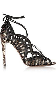 Aquazzura Lola lace-up elaphe and leather sandals | NET-A-PORTER