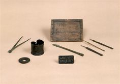 Extant wax tablet and tools from France, 100-50 BC