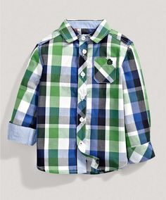 Boys Green Checked Shirt - New Arrivals - Mamas & Papas