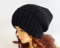 Sacking Winter Hat - Autumn Accessories - Slouchy Beanie  Women Hat  - Oversized Hat - Chunky Knit  - Mens Slouchy Black  color