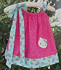 #OM2 Hot pink with Tutti Fruity Hello Kitty Birthday Pillow Case Dress by PoshBabyStore.com