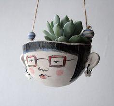 Handgemachte Keramik Pflanzgefäß-Iris Hipster-Garten Schmuck