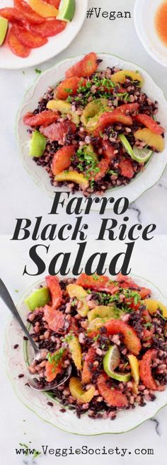 Italian Farro and Black Rice Salad Recipe with Blood Orange Citrus Vinaigrette | VeggieSociety.com #vegan #plantbased #salad #blackrice