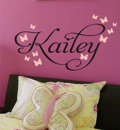 Butterfly Nursery Monogram Vinyl Decal - Vinyl Lettering great for Baby Girl, Toddler, Teen Bedroom - Vinyl Wall Art