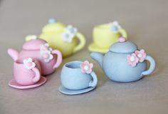 Edible tea set cupcake topper gumpaste teacup by GreenCaligo, £11.00