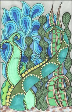 Aquatic Plants Green and Blue Watery Drawing. $28.00, via Etsy.