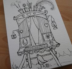 showman incense burning artist gypsy wagon :O) waiting to be washed with colour :O))) Doodle Drawings, Cute Drawings, Doodle Art, Gypsy Wagon, Gypsy Caravan, Coloring Book Art, Doodle Inspiration, Amazing Drawings, Cool Sketches