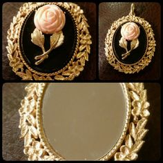 "Vintage Avon Pendant This is a gorgeous Vintage Avon Pendant. Goldtone and black with a pretty light pink rose on one side and a etched goldtone mirror on the other side. Measures approximately 3 "" long by 2 "" wide. Jewelry"