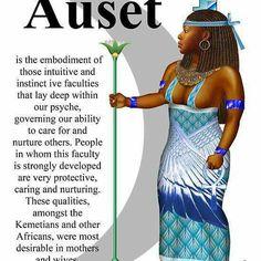 'Auset' by metu Isis Goddess, Black Goddess, Egyptian Goddess, African Mythology, African Goddess, Egyptian Symbols, Egyptian Art, Black History Facts, Ancient Egypt