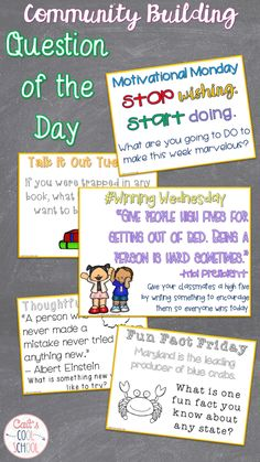 Questions of the day are great for morning meetings and creating a growth mindset among your students. They help to build a community in your classroom.