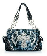 Light Blue Cross & Wings Western Style Handbag with rhinestones