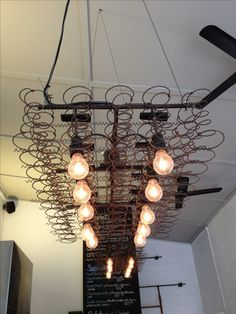 Could use the old bed springs from Junque shop trimmed in wood with the light strip from Ace Old Bed Springs, Mattress Springs, Box Springs, Deco Luminaire, Luminaire Design, Vintage Lighting, Cool Lighting, Suspended Lighting, Ceiling Lighting