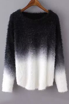 Ombre Mohair Long Sleeve Sweater BLACK: Sweaters | ZAFUL
