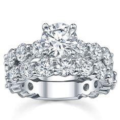 18k White Gold 4 7/8ct TDW Diamond Bridal Set (G-H, SI1-SI2) (Size 6.75), Women's