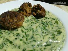 Špenátový prívarok s fašírkou (fotorecept) - Recept Mozzarella, Ham, Grains, Rice, Chicken, Cooking, Recipes, Anna, Spinach