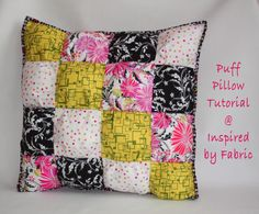 Inspired by Fabric: Puff Pillow Tutorial
