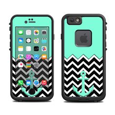 Skins FOR the Lifeproof iPhone 6 Case (Lifeproof Case NOT included) - Teal Blue Nautical Anchor and Chevron Pattern - Free Shipping by ItsASkin on Etsy https://www.etsy.com/listing/221191985/skins-for-the-lifeproof-iphone-6-case