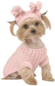 Maxs Closet Light Pink Bobblerosette Cable Sweater With Hat Medium Size 12  ♥♥  buydogsweaters.com