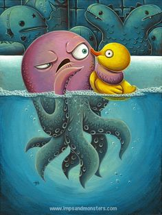 """Justin Hillgrove -- """"The Squeeze"""" -- 12″ x 16″ acrylics on canvas. 2014."""