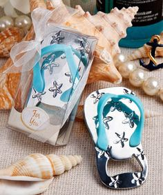Flip Flop Sandal bottle openers make fun favors for beach themed weddings or a tropical themed event such as a luncheon, bridal shower or engagement party.  Only $1.77 each with the bulk purchase of 150.      Need a different quantity?  We'll be happy to give you a quote!  Enjoy!