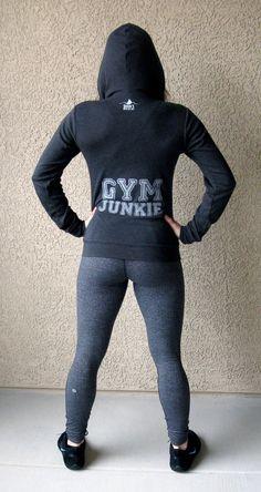 Gym Junkie, unisex triblend hooded zip up sweatshirt Sizes S, M, L, XL