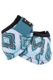 Classic Equine® No Turn DL™ Bell Boots with turquoise diamond patterns