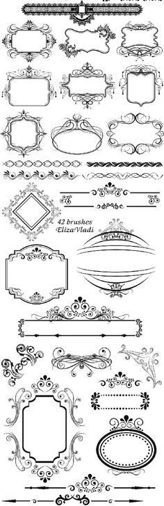 FREE Photoshop brushes: Vintage frames (I'm going to try these as scrapbook embellishments! Free Photoshop, Photoshop Brushes, Stencils, Etiquette Vintage, Vintage Frames, Vintage Clip Art, Digi Stamps, Zentangle, Hand Lettering