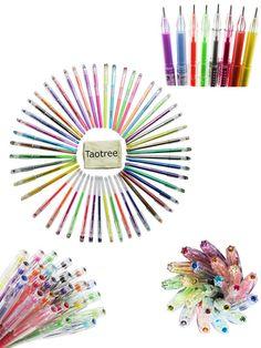 Taotree Premium 48 Stück Gelschreiber Gelstifte Farbstift Set mit Plastikbehälter, ideal für die Scrapbooks, Party lädt ein, Grußkarten , Zeichnung, Färbung, Schreiben, von 0,8 bis 1,0 mm Fine Point (Set von 48 Stifte, einschließlich Glitter, Neon,Metallic & Pastel)