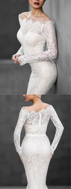 Fascinate everyone with your flawless style in this white lace mermaid dress. Do not forget to check our wide range of Dresses. #dresses #mermaid #lacedress #laceweddingdresses #weddingdresses