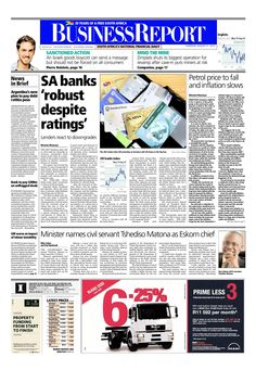Today's Business Report newspaper front page (August 21, 2014) deals with the decline in the JSE banking index, the petrol price set to fall and the new Eskom boss announced.  To read these stories click here: http://www.iol.co.za/business