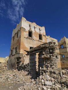 Mirbat, collapsed house of a rich merchant, Bayt al-Siduf, Oman
