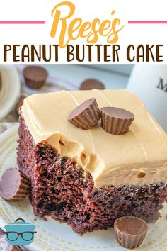 Reese's Peanut Butter Cup Cake starts with a yummy chocolate boxed cake mix and topped with the most amazing Reese's peanut butter frosting! Peanut Butter Cups, Reese Peanut Butter Cake, Peanut Butter Recipes, Peanut Butter Frosting, Cupcakes, Cupcake Cakes, Food Cakes, Pina Colada, Cupcake Recipes