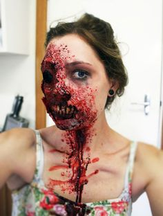Very cool and scary zombie girl makeup. Very cool and scary zombie girl makeup. Zombie Girl Makeup, Scary Makeup, Sfx Makeup, Costume Makeup, Girls Makeup, Dead Makeup, Awesome Makeup, Awesome Art, Special Makeup