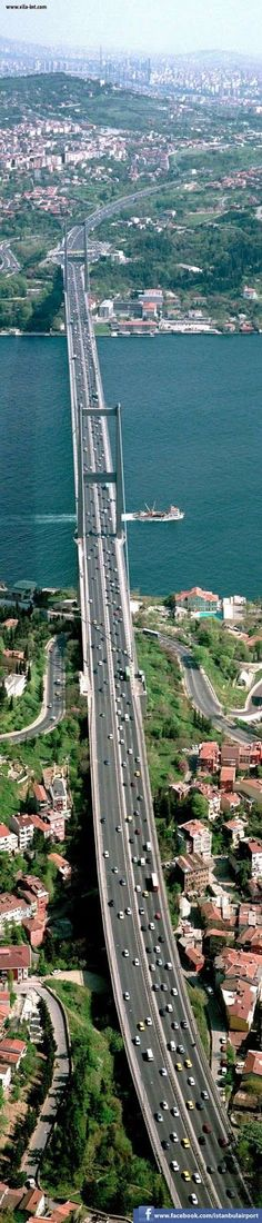 The Bosphorus Bridge in Istanbul, Turkey. This bridge spans Bosphorus Strait, connecting two continents, Europe and Asia. Places Around The World, Travel Around The World, Around The Worlds, Places To See, Places To Travel, Bosphorus Bridge, Wonderful Places, Beautiful Places, Voyage Europe