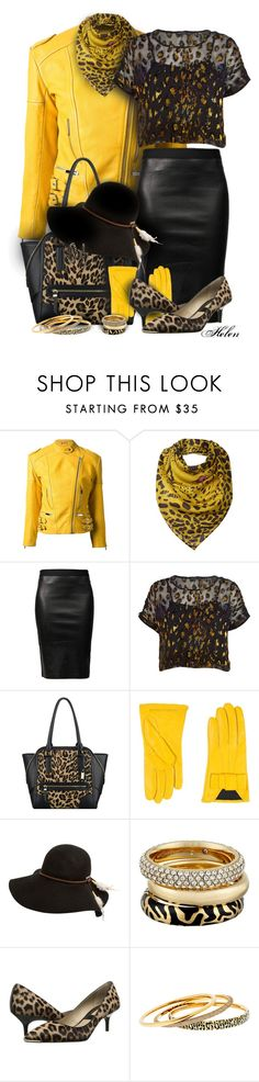 """""""Black & Gold Leather & Leopard Outfit with Kitten-Stacked Heels"""" by helenehrenhofer ❤ liked on Polyvore featuring Christopher Kane, Codello, Trilogy, Helmut Lang, River Island, Nine West, Emporio Armani, Billabong, Michael Kors and women's clothing"""