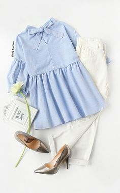 Blue Vertical Striped Babydoll Blouse With Bow Tie