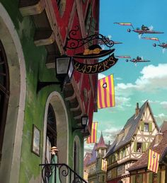 s Moving Castle. Directed by Hayao Miyazaki. Created by Studio Ghibli.s Moving Castle (Two-Disc Blu-ray/DVD Combo) Art Studio Ghibli, Studio Ghibli Films, Hayao Miyazaki, Howl's Moving Castle, Studio Ghibli Background, Animation Background, Studio Ghibli Collection, Totoro, Film Animation Japonais