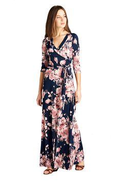 On Trend Women's Paris Bohemian 3/4 Sleeve Long Maxi Dress (X-Large, Blue Boho)