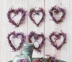 Mini lavender heart wreaths