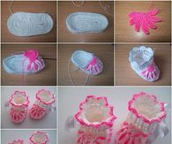 Crochet Flower Baby Booties