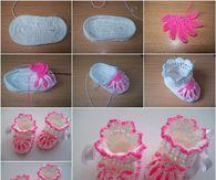 Crochet Flower Baby Booties