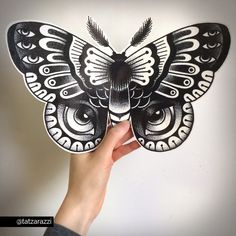 Giant Temporary Tattoos Dotwork Polyphemus Moth by Tatzarazzi feat. Anna Boccato