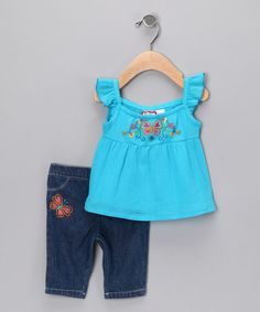 Take a look at this Turquoise Butterfly Tunic & Capri Pants - Infant & Toddler by BT Kids on #zulily today!