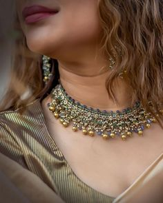 Chocker Necklace, Chokers, Gold Necklace, Earrings, Tanzanite Gemstone, Emerald Gemstone, Velvet Shawl, Fine Jewelry, Jewellery