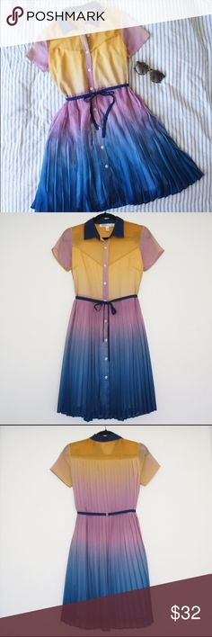 """Anthropologie Ombré Pleated Shirt Dress Beautiful ombré colors, polyester pleated chiffon, cotton jersey lining, button front, waist tie. It has POCKETS! Love any dress with pockets. 37"""" L. EPIC by JF & Son. Dress is in excellent condition, but somehow got a tiny unnoticeable hole near the placket. Fit is quite loose and forgiving but it can be cinched at the waist. Could fit XS/S comfortably. Anthropologie Dresses Mini"""