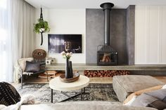 Photo of The Block Lounge and Dining Rooms That Caused a Dual Win Open Fireplace, Fireplace Design, Stove Fireplace, Fireplace Wall, Fireplace Ideas, Interior Design Living Room, Living Room Decor, Living Area, Freestanding Fireplace