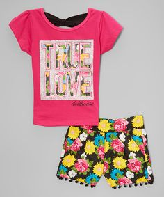 Look at this Dollhouse Pink Crewneck Top & Shorts - Infant, Toddler & Girls on #zulily today!