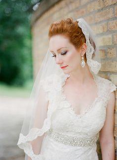 Veil -- On Style Me Pretty: http://www.StyleMePretty.com/2014/03/17/irish-inspired-wedding-at-tir-na-nog-estate/ Brosnan Photographic